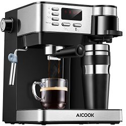 Aicook Espresso and Coffee Machine, 3 in 1 Combination 15Bar Espresso Machine and Single Serve C ...