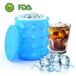 Ice Cube Maker Genie, Skyline Silicone Ice Bucket, Holds Up to 120 Ice Cubes, Revolutionary Spac ...