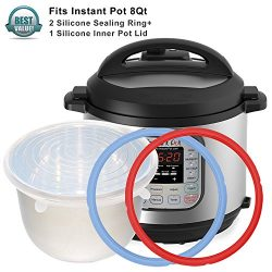 2pcs Instant Pot Silicone Sealing Ring & 1 Inner Pot Lid Combo , Seal Lasting & BPA-free ...