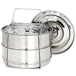 Stackable Steamer Insert Pans for Instant Pot Accessories 6/8 qt – SECITE Stainless Steel  ...