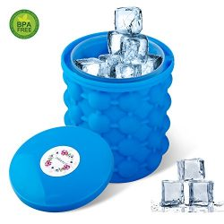 SHEEFLY Ice Cube Maker Genie, BPA-free Dual-use Ice Cube Maker, Space Saving Silicon Ice Bucket  ...