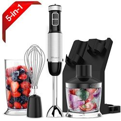 XProject HandBlender, Powerful 800W 4-in-1 Immersion Blender with 6 Speed Control, 500ml Choppe ...