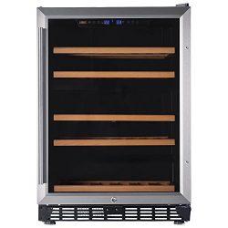 Lanbo 24″ Built-in Under Counter Wine Refrigerator, 46 Bottle Dual Zone Compressor Wine Co ...