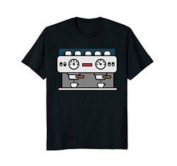 Mens Barista Double Espresso Machine Coffee T-Shirt XL Black