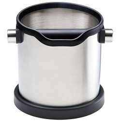 Stainless steel knock box and coffee grind container for portafilter espresso machine. Large sho ...