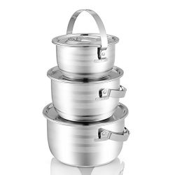 KINDEN Mixing Bowl Stainless Steel – 6mm Composite Bottom Nesting Bowls with Handle and Li ...