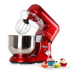 KLARSTEIN Bella Rossa • Tilt-Head Stand Mixer • Dough Hook, Flat Beater, Wire Whip • 650 Watts • ...