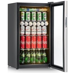 Costway 120 Can Beverage Refrigerator and Cooler Mini Fridge with Glass Door for Soda Beer or Wi ...