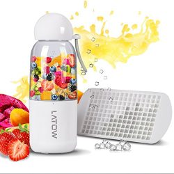 Smoothie Blender, LATOW USB Juicer Portable Blender with Travel Lid Ice Tray, Household Recharge ...