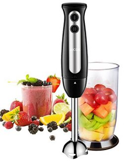 Immersion Blender, Aicok 2 in 1 Hand Blender with 2-Speed Control, Stick Blender Include 700ml B ...