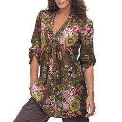 CCSDR Promotions Women Plus Size Tops,Vintage Floral Print V-Neck Tunic Buttons Shirt (M, Coffee)