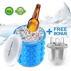 Ice Cube Maker Genie from Arishine, Silicone Ice Bucket, Portable Ice Maker with Private Mode, S ...