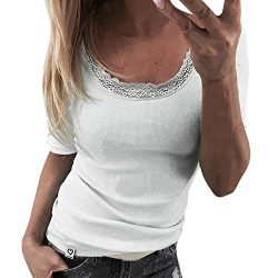 Charberry Hot Sale Womens Round Neck Lace Sleeveless Slim T-Shirt Sexy Stitching Pullover Tops B ...