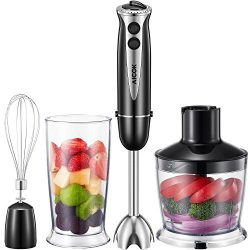 Aicok Hand Immersion Blender, 300W 4-in-1, with 5 Speed, High-Quality Stainless Steel Electric M ...