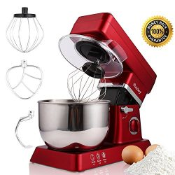 MeyKey Stand Mixer, 600W Tilt-Head Kitchen Electric Food Mixer with 6-Speed Control, 5-Quart Sta ...