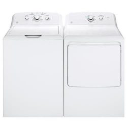 GE White Laundry Pair with GTW330ASKWW 27″ Top Load Washer and GTD33EASKWW 27″ Front ...
