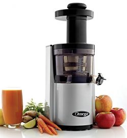 Omega Juicers VSJ843RS Vertical Slow Masticating Juicer Makes Continuous Fresh Fruit and Vegetab ...