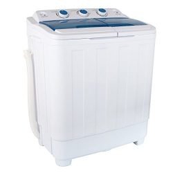KUPPET 17Ibs Portable Washing Machine, Compact Twin Tub Washer and Spin Dryer Combo for Apartmen ...