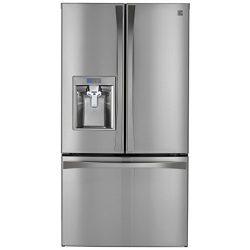 Kenmore Elite 73153 28.7 cu. ft. French Door Bottom-Mount Refrigerator in Stainless Steel, inclu ...