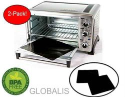 "Toaster Oven Liner TWO-PACK 100% Non-Stick 11"". Finally, Prevent Spillovers, Gunk & Odors! G ..."