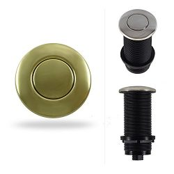 3″ Extended Garbage Disposal Air Switch Button for Thicker Counter Tops (Polished Brass).  ...