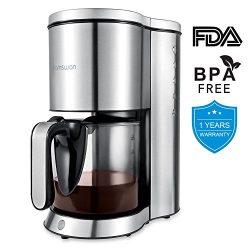 Drip Coffee Maker, HAMSWAN AD-103 Thermal Coffee Maker, Ground Coffee maker, 2, 4, 6, 8, 10 Cup  ...