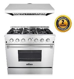 Thor Kitchen 2-Piece Kitchen Package with 36″ Pro Style 6 Burner Stainless Steel Gas Range ...