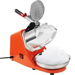 VIVOHOME Electric Ice Crusher Shaver Snow Cone Maker Machine Orange 143lbs/hr for Home and Comme ...