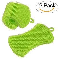 HEYFIT Silicone Sponge, Kitchen Dish Sponge Multipurpose Antibacterial Washing Brush Scruhbber f ...