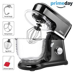 Betitay Stand Mixer, 6-Speed 4.5 QT Glass Bowl Visual Baking Mixer, Dough Kneading Machine with  ...