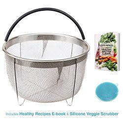 Cuisinedge Steamer Basket for Instant Pot Accessories. Premium Stainless Steel Strainer, Colande ...