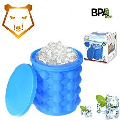 The New Revolutionary Large Ice Maker Silicone Genie Ice Tray Mold Ice Bucket Perfect for Picnic ...
