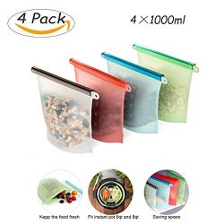 Instant Pot Accessories Streamer bags 4 Pcs Reusable Silicone Food Preservation Bags,Airtight Se ...