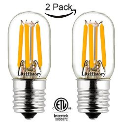 LiteHistory T7/T22 E17 led Microwave Light Bulb,ETL Stove Non-dim 250lm 2W=25W 4500K 2Pack