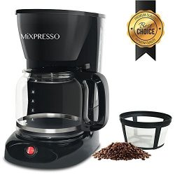 Elite Drip Coffee Maker By Mixpresso Coffee [12 Cups] | Black Coffee Machine With Durable, Nonst ...
