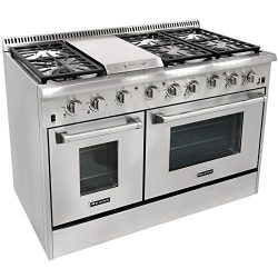 48″ 6 Burner Gas Range With Double Oven and Griddle