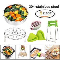 Instant Pot Accessories 6,8 qt Steamer Basket with Egg Steamer Rack, Foldable Bowl Plate Dish Cl ...