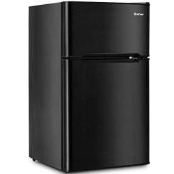 Costway Compact Refrigerator 3.2 cu ft. Unit Small Freezer Cooler Fridge (Black)