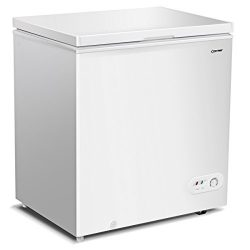 Costway Single Door Chest Freezer 5.2 Cubic Feet Capacity Compact Freezer with Power on Indicato ...