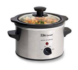 Elite Gourmet MST-250XS 1.5 Quart Stainless Steel Slow Cooker, Silver