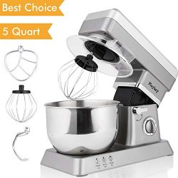 Stand Mixer, 600W Tilt-Head Kitchen Electric Food Mixer with 6-Speed Control, 5-Quart Stainless  ...