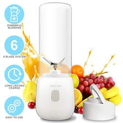 USB Rechargeable Travel Juicer Blender | 6-Blade System Portable Personal Blender | Li-Ion Batte ...