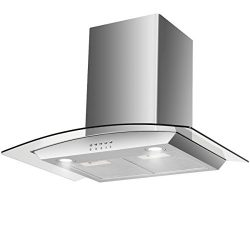 "Costway 30"" Wall Mount Range Hood Stainless Steel Tempered Glass Kitchen Cooking Vent Fan  ..."