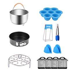 12 Pcs Instant Pot Accessories Set for 6, 8 Qt Instant Pot, Steamer Basket, Egg Rack, Springform ...