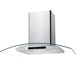 CIARRA 30″ Wall Mount Range Hood Touch Control,LED Lights,3 Speeds,450 CFM,Tempered Glass, ...