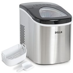 Della Portable Top Load Electric Ice Maker Produces up to 26 lbs. of Ice Daily, 2-Size Black/Sta ...