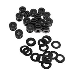 Dovewill 16 pcs Foosball Machine Washers Table Football Buffer + 16 pcs Rod Bumpers 1/2 Black