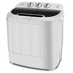 ZENY 2-in-1 Compact Mini Twin Tub Washing Machine w/Spin Cycle Dryer, 13Lbs Capacity w/Hose, Spa ...