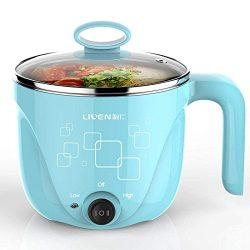 1L Liven Electric Hot Pot with 304 Stainless Steel healthy inner Pot, Cook noodles and boil wate ...