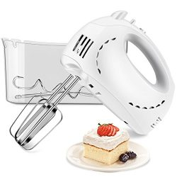 Hand Mixer, Home Gizmo Electric 5-Speed Hand Mixer with 2 Wider Beaters and Dough Hooks (Storage ...